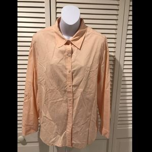 NWOT Chico's Women's Pale Peach Long Sleeve Button